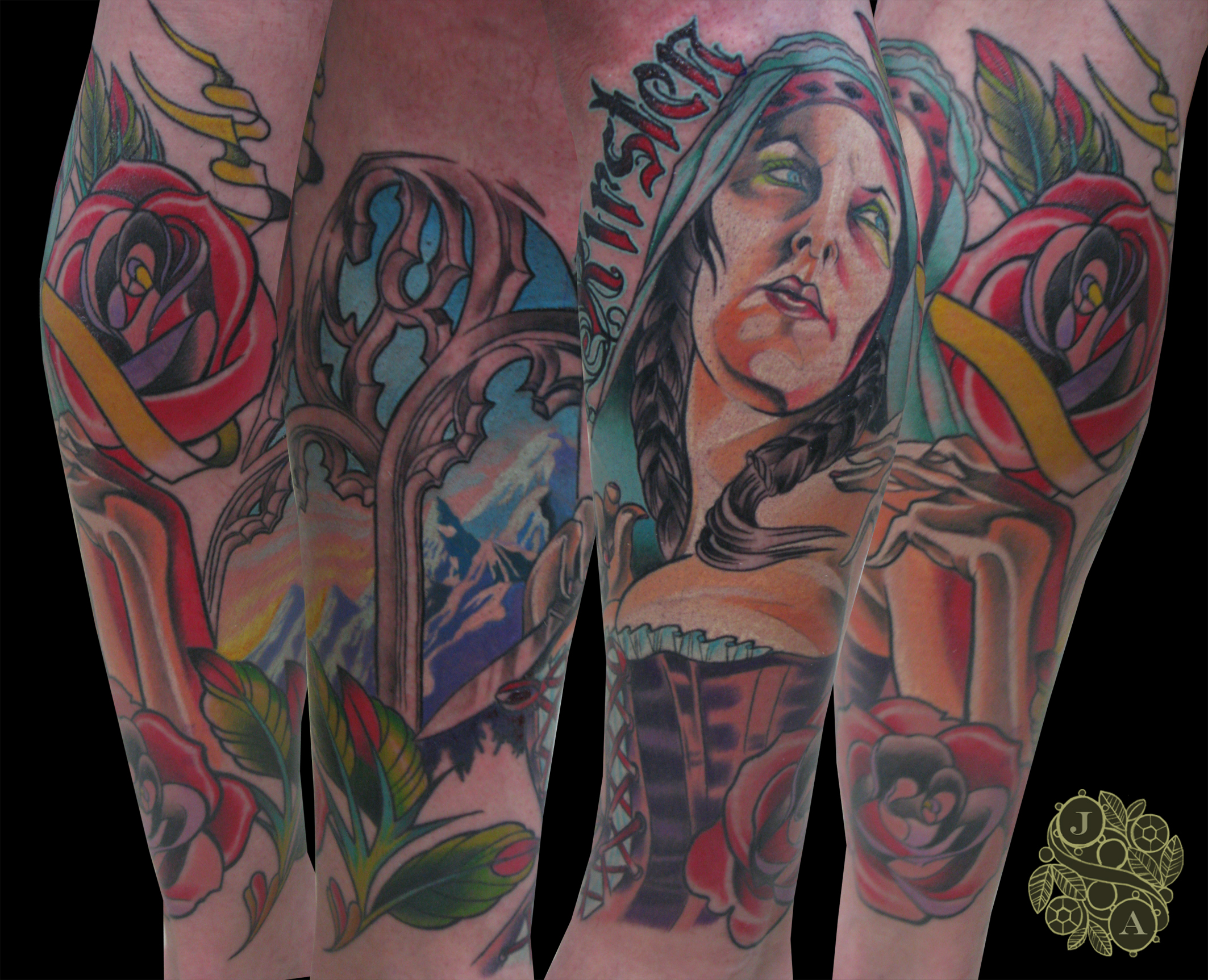 mary magdeline tattoo by Justin Acca modeled by Lucia Mocnay