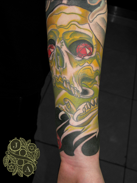 skull tattoo by justin acca