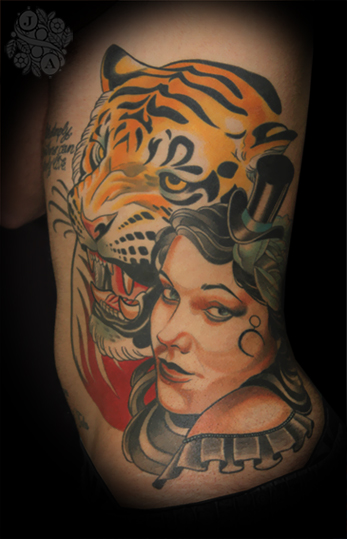 Girl and Tiger Side tattoo by Justin Acca