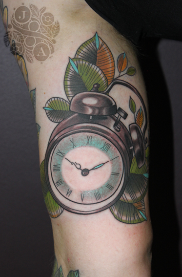 Clock tattoo by Justin Acca