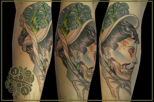 Victorian Lady Zombie Tattoo by Justin Acca