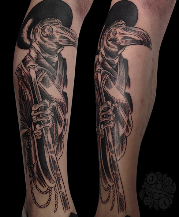 Doctor Plague Mask Tattoo in black by Justin Acca