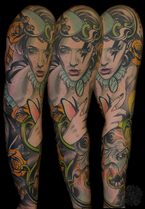 Neo Traditional neotrad Circus Themed sleeve feminine by Justin Acca