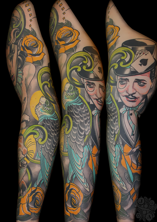 circus themed sleeve magician and bird in colour by justin acca feminine