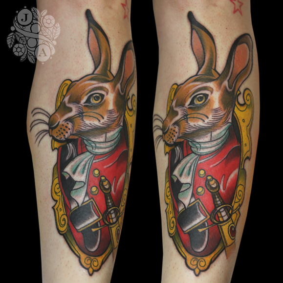 Soldier hare tattoo by Justin Acca Anthropomorphic