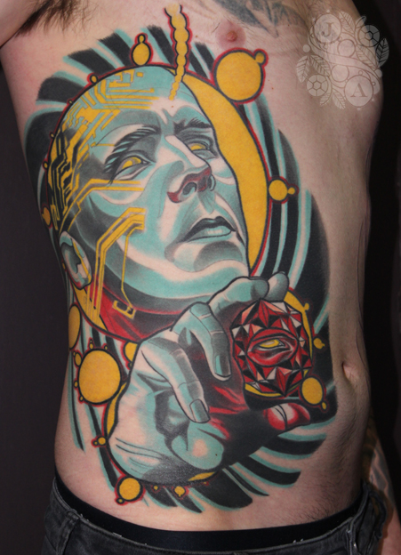 big psychedelicman side piece tattoo by Justin Acca