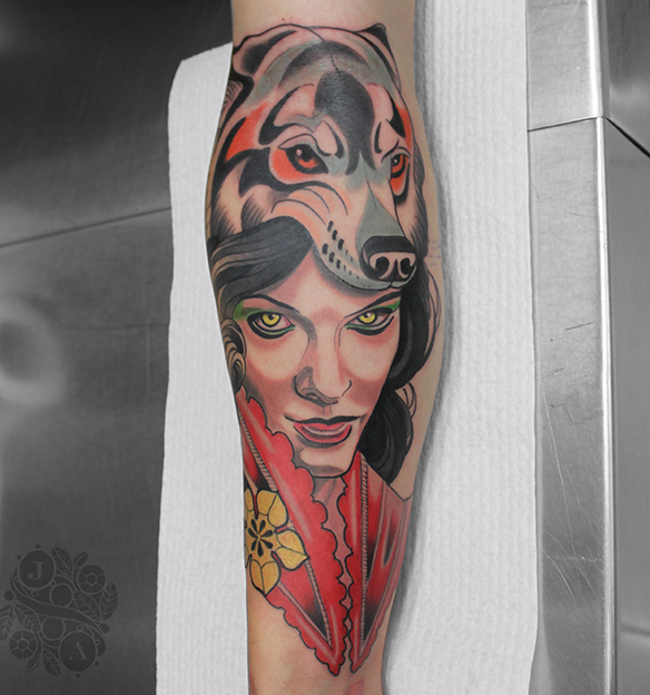 vampire wolf lady tattoo by justin acca neotraditional