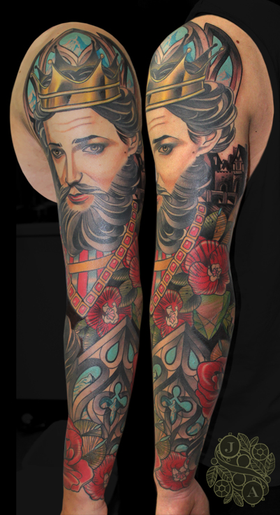 King Tattoo Sleeve by Justin Acca neo traditional