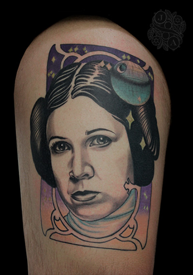Princess Leia portrait tattoo by Justin Acca