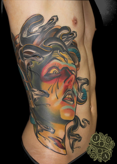Large Medusa Sidepiece tattoo by Justin Acca model Lucia Mocnay
