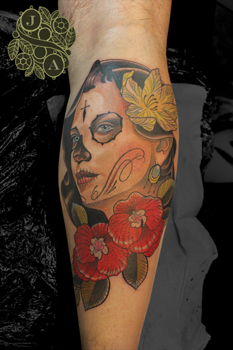 day of the dead lady head in colour tattoo by justin acca
