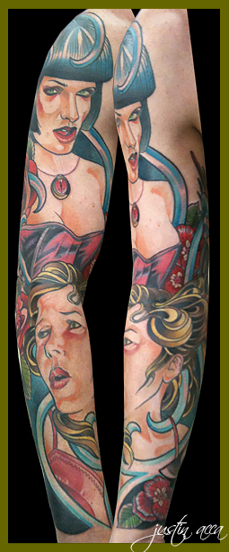 Sub and dom sleeve tattoo by Justin Acca modeled by Lucia Mocnay