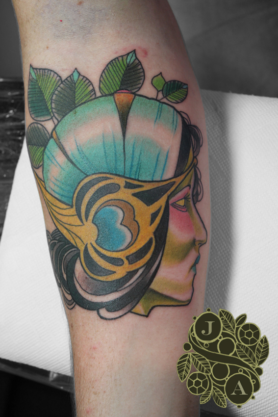 art nouveau lady headpiece tattoo by Justin Acca