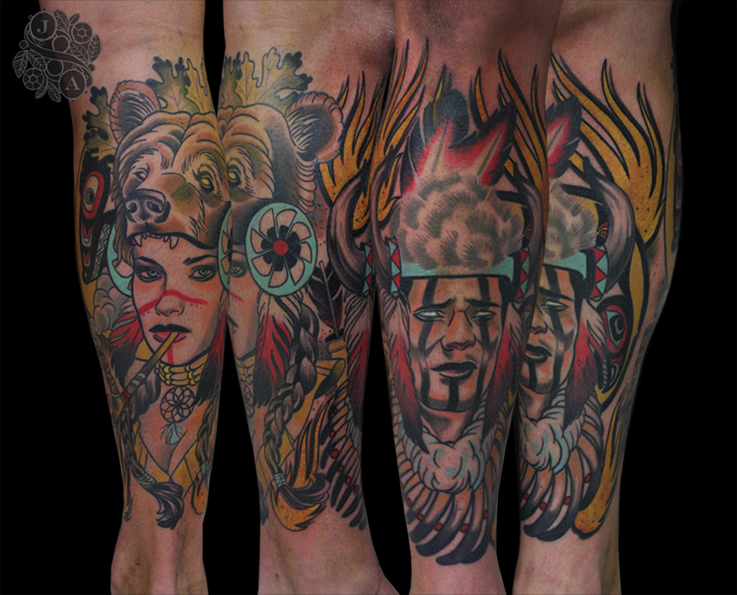 native American Indians tattoo by Justin Acca Neo Traitional