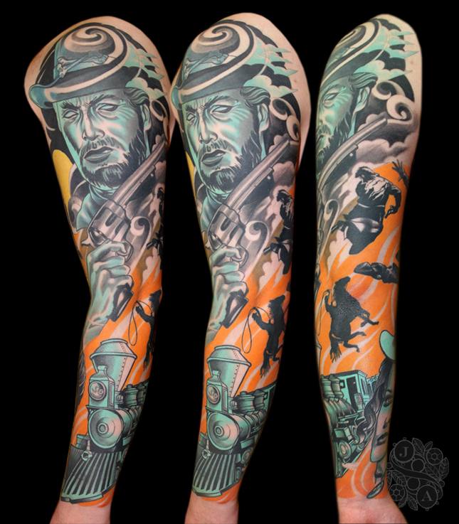 clint eastwood sleeve by justin acca from the western movie