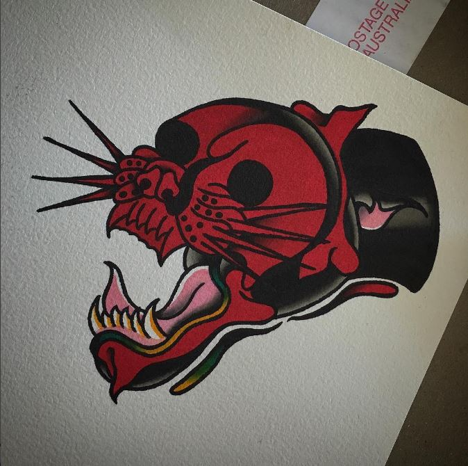 skull and panther in one design by brendan courts